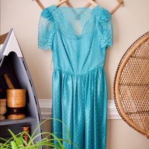 Vintage 80s Lace Dress || Blue Teal Prom Dress
